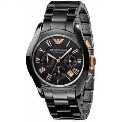 Emporio Armani Men's Ar1410 Black/rose Gold Dial Ceramica Watch