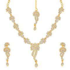 Sukkhi Beguiling Gold Plated Australian Diamond Stone Studded Necklace Set - (Code - 2034NADK850)