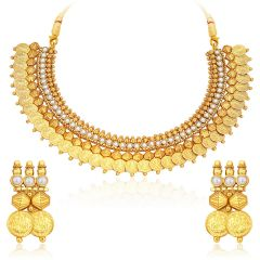 Sukkhi Astonish Gold Plated Temple Jewellery Coin Necklace Set For Women - (Code - 2721NGLDPKN1000)
