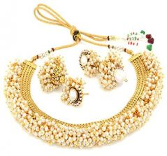 Sukkhi Astonish Gold Plated Choker Necklace Set For Women - (Code - N71437GLDPAP3050)