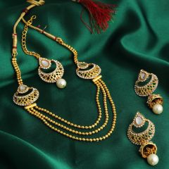 Sukkhi Graceful 3 String Gold Plated Necklace Set For Women - (Code - 3253NGLDPKN750)