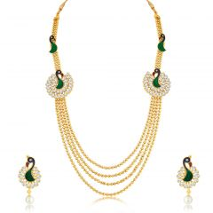 Sukkhi Luxurious Peacock 4 String Gold Plated Long Haram Necklace Set For Women - (Code - N71247GLDPKN950)