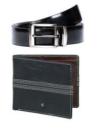 JL Collections 6 Card Slots Blue Men's Leather Wallet & Belt (Pack of 2)