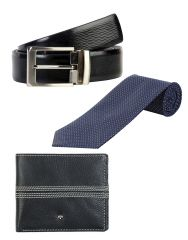 JL Collections 6 Card Slots Navy Blue Men's Leather Wallet with Tie & Belt (Pack of 3)