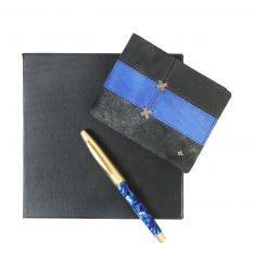 JL Collections 8 Card Slots Black & blue Men's Leather Wallet and Mother of Pearl Golden & Blue Roller Pen (Pack of 2)