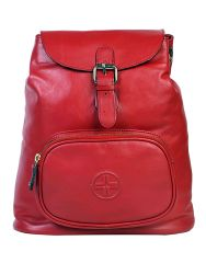 Jl Collections Women's Leather Red Backpack