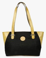 JL Collections Women's Leather & Jute Black and Beige Shoulder Bag - (Code - JLFB_36)