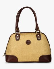 JL Collections Women's Leather & Jute Beige and Brown Shoulder Bag Beige and Brown - (Code - JLFB_51_BG)