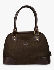 JL Collections Women's Leather & Jute Brown Shoulder Bag Brown - (Code - JLFB_51_BR)