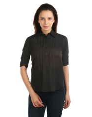 OPUS Roll-up Sleeve 100% Cotton Formal Black Women's Shirt (Code - SH_012_BK)
