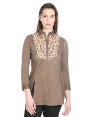 OPUS Burnt Olive Cambric Cotton Partywear Embroidered Fusion Wear Women's Kurti (Code - SH_014_GRY)