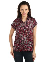 OPUS Cap sleeve Rayon Fabric Casual Red Women's Shirt (Code - SH_018_RD)