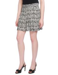 OPUS Black Rayon Modal Casual Geometric Print Western Wear Girl's Mini Skirt (Code - SK_SH_001_BK)