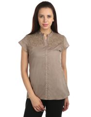 OPUS Cap sleeve 100% Cotton Casual Camel Grey Wome's Top (Code - TP_015_CG)