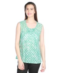 OPUS Sea Green Cotton Party Embellished Fusion Wear Women's Top (Code - TP_022_GR)