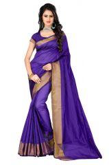 Aar Vee Purple Banglori Silk Saree With Unstiched Blouse Bspu05
