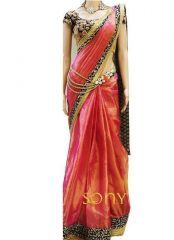 New Pink Paper Silk Georgette Designer Saree Nx-28