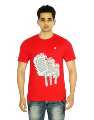 Eupli Cotton Round Neck Printed Red Men T Shirts