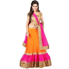 Anu Clothing Orange Net Womens Lehenga Choli AASR024