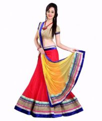 The Core Fashion Red Net Lehenga Choli