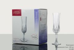 Cristal D'arques Long Champ Champagne Flute Glass,140 ml,Set of 6
