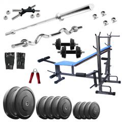 Diamond Bodybuilding  8 IN 1 Bench with 68KG weight 3Ft Curl 5Ft Plain Rod For Intense Workout
