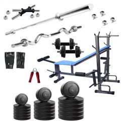 Diamond Muscle Gaining 8 IN 1 Bench with 60Kg Weight 3Ft Curl 5Ft Plain Rod For Good Health & Fitness
