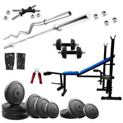 Diamond 5 IN 1 Bench Home Gym Machine With 60Kg Weight 3Ft EZ 5Ft Straight Rod