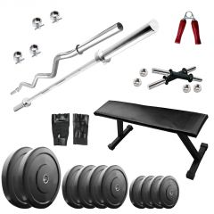 Diamond Bodybuilding Flat Bench with 90KG weight 3Ft Curl 5Ft Plain Rod For Intense Workout