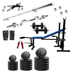 Diamond Bodybuilding  5 IN 1 Bench with 60KG weight 3Ft Curl 5Ft Plain Rod For Intense Workout