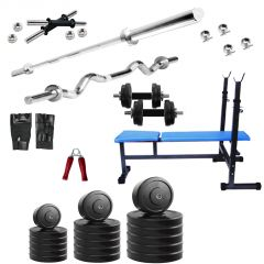 Diamond Bodybuilding  3 IN 1 Bench with 80KG weight 3Ft Curl 5Ft Plain Rod For Intense Workout