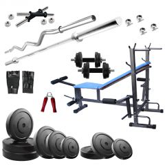 Diamond Multipurpose 8 IN 1 Bench with 68Kg Weight and 3Ft Curl 5Ft Plain Rod For Wellness