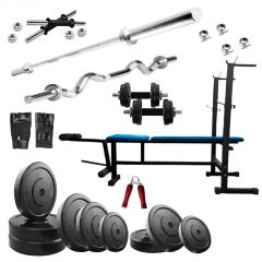 Diamond Muscle Gaining 6 IN 1 Bench with 20Kg Weight 3Ft Curl 5Ft Plain Rod For Good Health & Fitness