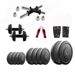 Indoor Workout Package of  32Kg Plates with Dumbbell Rods and Accessories for Home Gym Exercise From Diamond