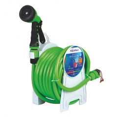 "AquaHose Household Water Hose Reel Green 15mtr 12.5mm(1/2"") - 50' (Fixed Type) Hose Pipe"