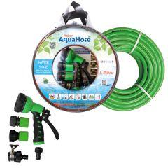 """AquaHose Water Hose Set Green 15mtr 20mm(3/4"""") 50' Hose Pipe"""
