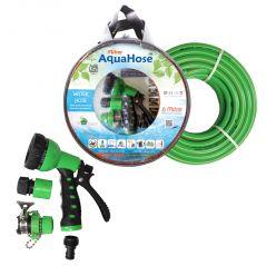 """AquaHose Water Hose Set Green 15mtr 12.5mm(1/2"""") - 50' Hose Pipe"""