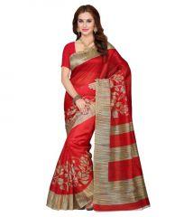 Morpich Fashion New Designer Red Color Bhagalpuri Silk Saree(arpitared5569)