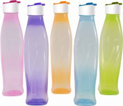 Trigal P.P. B Nira Water Bottle -1 ltr (Set of 5, Multicolour)