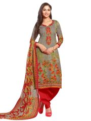 Stylee Lifestyle Grey Embroidered Dress Material 1037