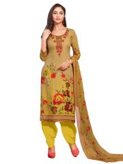 Stylee Lifestyle Yellow Embroidered Dress Material 1041