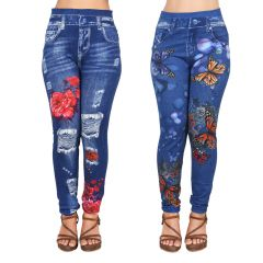 Ziva Fashion Girls/Womens Blue Poly Cotton Printed Pull On Ankle Length Leggings/Jeggings (Pack of 2) ( CODE - J11-J12 )