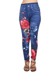 Ziva Fashion Girls/Womens Blue Poly Cotton Printed Slim Fit Casual Leggings/Jeggings ( CODE - J4 )