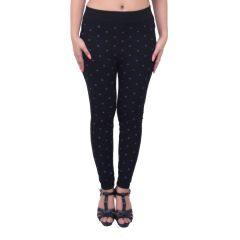 Ziva Fashion Black Doodle Print Free Size Jeggings  - (  J6011-FR )