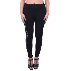 Ziva Fashion Black Athletic Free Size Jeggings  - (  J70-FR )