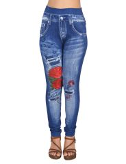 Ziva Fashion Girls/Womens Blue Poly Cotton Printed Pull On Slim Fit Leggings/Jeggings ( CODE - J9 )