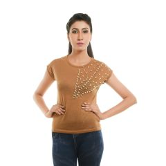 Ziva Fashion Women's Khaki T-shirt with Pearls - T101