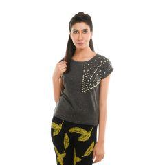 Ziva Fashion Women's Grey T-shirt with Pearls - T105