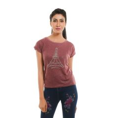 Ziva Fashion Women's Wine Red Eiffel Tower T-shirt with Pearls - T115