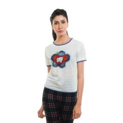 Ziva Fashion Women's White T-shirt with Patchwork  - T75